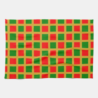 Kitchen / T Towel - Red, Green on Gold