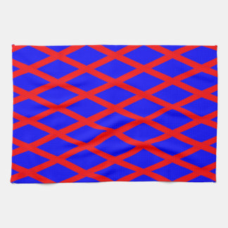 Kitchen / Tea Towel - Blue Base, Red diagonals