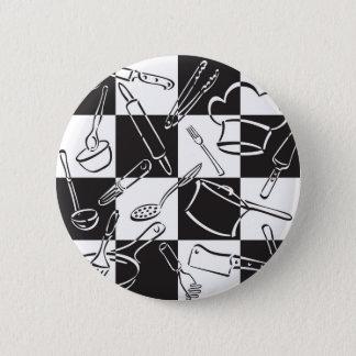 Kitchen Tools Checkerboard 2 Inch Round Button
