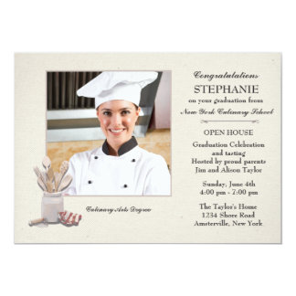"Kitchen Tools Photo Culinary School Graduation 5"" X 7"" Invitation Card"
