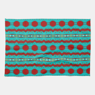 "Kitchen Towel 16"" x 24"" w/Teal and Red Abstract"