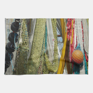 Kitchen towel abstract beach fishing nets