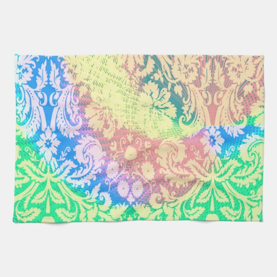 Kitchen towel abstract rainbow paisley pink green