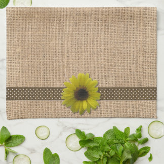 Kitchen Towel - Burlap and Rain-Drenched Sunflower