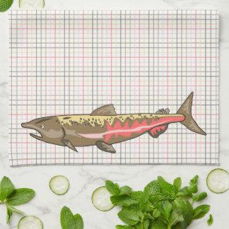 Kitchen Towel - Chinook Salmon on Plaid