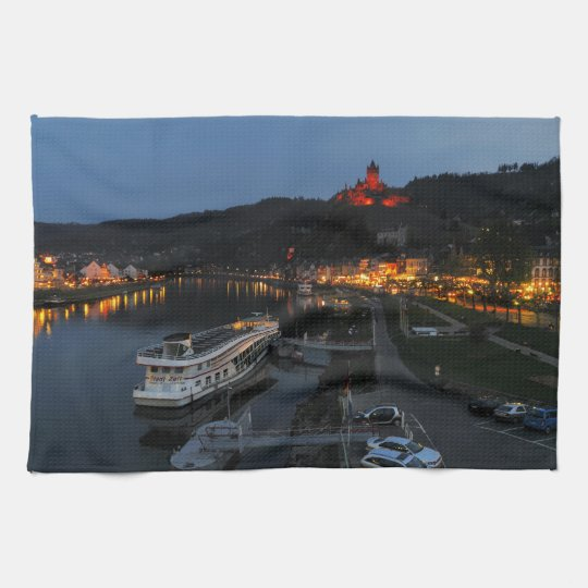 Kitchen towel Cochem at Moselle in the evening