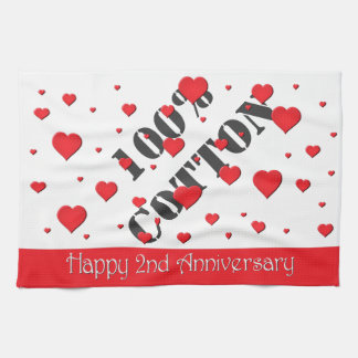 Kitchen Towel - Floating Hearts - 2nd Anniversary