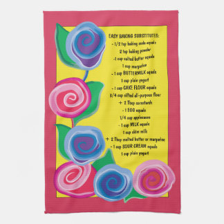 "Kitchen Towel ""Flowers with Baking Tips"""