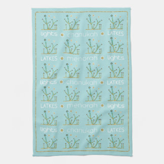 "Kitchen Towel ""Hanukkah/Lights, Latkes, Chanukah"""