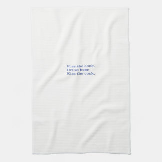 Kitchen Towel, Kiss the cook. Drink beer. Blue Kitchen Towel