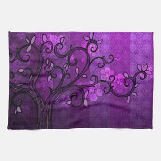Kitchen Towel - 'Leave' in Spring Plum