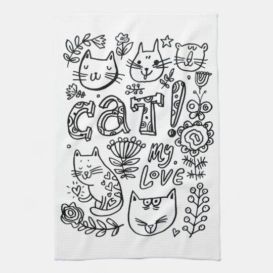 kitchen towel love cat