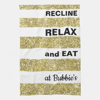 "Kitchen Towel Passover/Gold, ""EAT AT... """