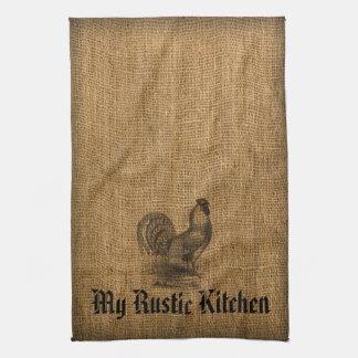 Kitchen Towel Rustic Rooster Burlap