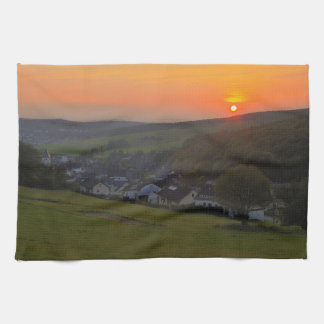 Kitchen towel sunset in the low mountain range