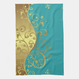 Kitchen Towel--Teal & Gold Swirls Hand Towels
