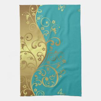Kitchen Towel--Teal & Gold Swirls Kitchen Towel