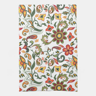 Kitchen towel with floral decorative patterns