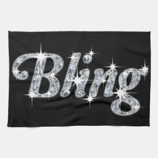 kitchen towl featuring faux diamond bling design kitchen towel
