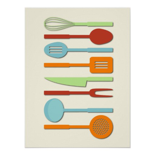 Kitchen Utensil Silhouettes ORBLC II Poster