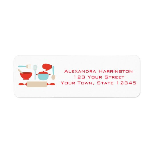 Kitchen Utensils, Blue, Red Return Address Label