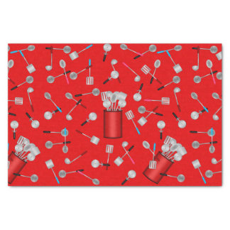Kitchen Utensils on Red-TISSUE WRAPPING PAPER