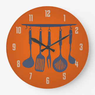 Kitchen Utensils Orange Kitchen Clock