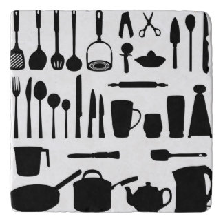Kitchen Utensils Silhouettes Stone Trivet