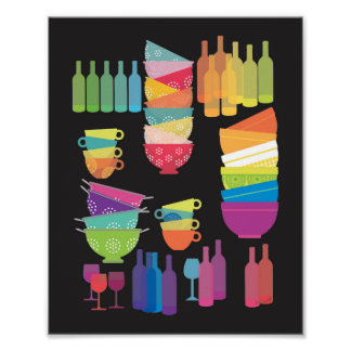 Kitchen Wall Art 'Glowing Dishes' Print