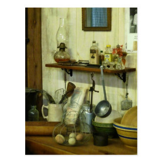 Kitchen With Wire Basket of Eggs Postcard