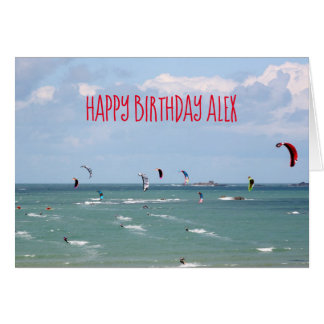 Kite Boarding Race Happy Birthday personalized Card
