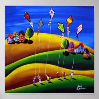 Kite Fliers Folk Art Whimsical Canvas Print