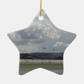 Kite Surfers. Scenic view. Ceramic Star Ornament