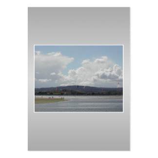 Kite Surfers. Scenic view. On Gray. Pack Of Chubby Business Cards