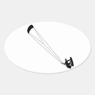 Kite Surfing Cowboy Oval Sticker
