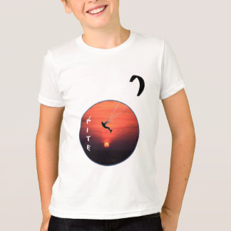 Kite-Surfing on Sunset Background T-Shirt