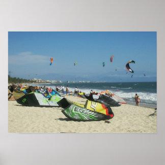 Kiteboarding on Bucerias Beach Mexico Poster