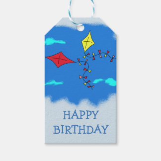 Kites in the Blue Sky Happy Birthday Gift Tags