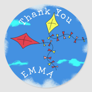 Kites in the Sky Thank You Name Classic Round Sticker