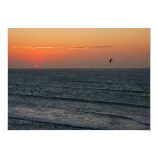 Kitesurfing at sunset card