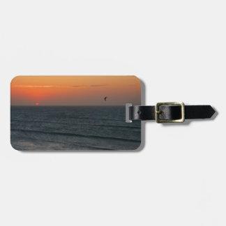 Kitesurfing at sunset luggage tag