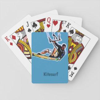 Kitesurfing athlete playing cards