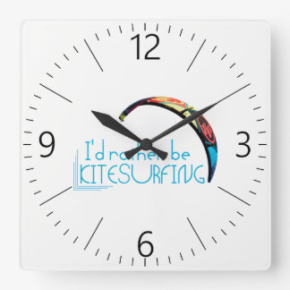 Kitesurfing Square Wall Clock