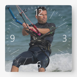 Kitesurfing Square Wall Clock