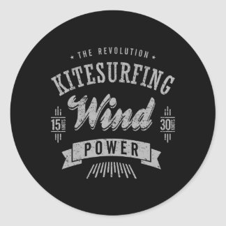 Kitesurfing Wind Power Extreme Sport Classic Round Sticker