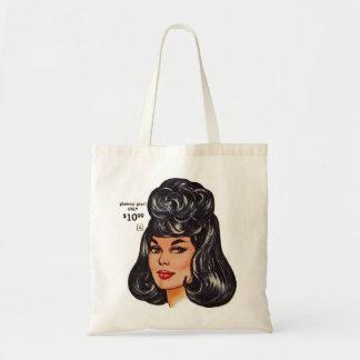 Kitsch Vintage '100% Human Wig' Ad #1 Budget Tote Bag