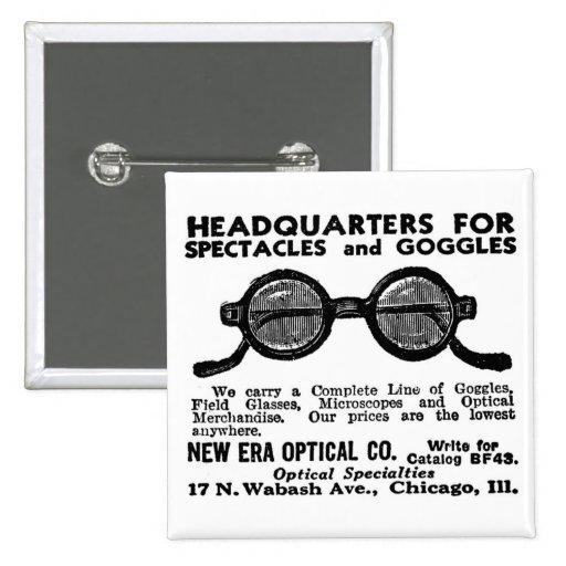 Kitsch Vintage Ad Googles and Eyewear Glasses Pinback Button