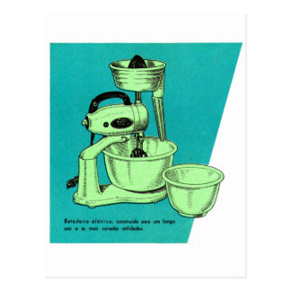 Kitsch Vintage Appliance 'The Mixer' el mezclador Postcard