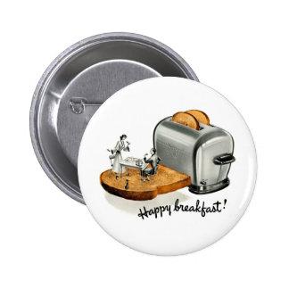 Kitsch Vintage Breakfast toast 'Happy Breakfast' 2 Inch Round Button