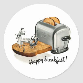 Kitsch Vintage Breakfast toast 'Happy Breakfast' Sticker